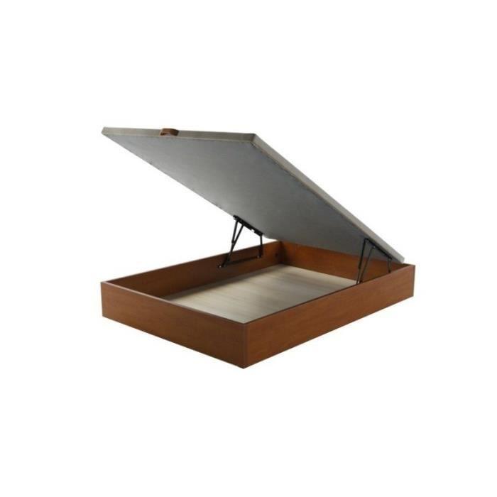 sommier coffre en bois notte 90x200 cerisier achat. Black Bedroom Furniture Sets. Home Design Ideas