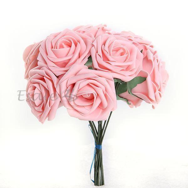 Bouquet 10pcs Fleur Artificiel Roses En Mousse Rose Deco Mariage
