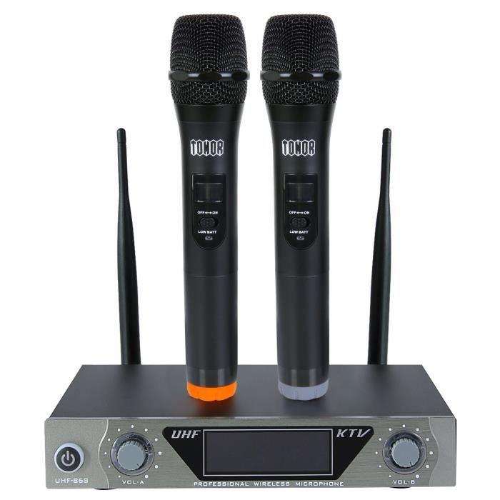 Microphone Sans Fil De Système Vhf Portable Micro À Main Avec Double Microphones Dynamiques Et Écran Lcd Pour Karaoké Réunion Fiesta