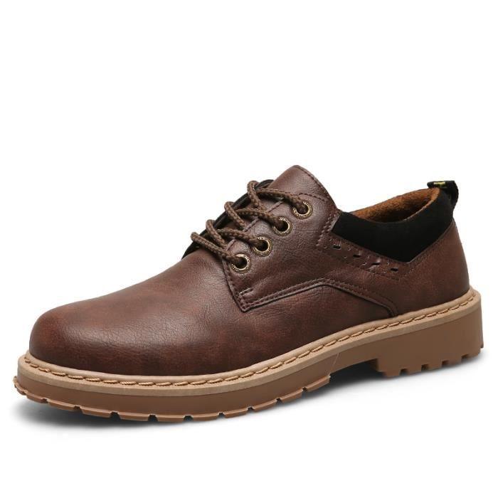 Haute qualité chaussure de travail homme antidérapantes chaussures en cuir Bottines en Cuir - Marron