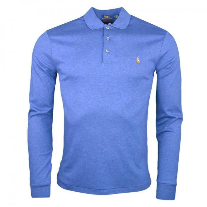 7f3a24766dfe8f Polo manches longues Ralph Lauren bleu indigo en jersey slim fit pour homme  - Couleur  Bleu - Taille  S