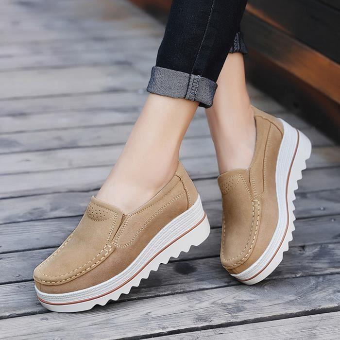 Muffin Chaussures Décontractée Sneakers Kaki Creepers En Mocassins Cuir Flats Femmes aq75x1x
