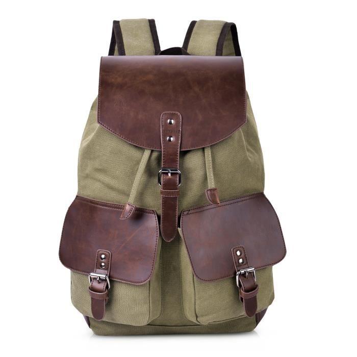 Vbiger Sac à bandoulière Backpack Large Capacity Travel Daypack Sac à bandoulière décontracté pour hommes et femmes, Green Army
