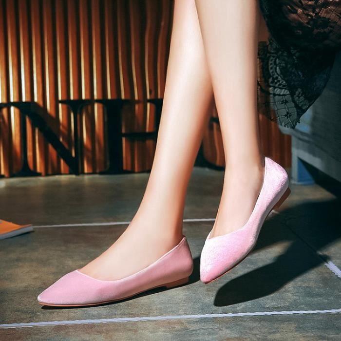 ballerine-Pure Color bout pointu de ballerine de femmes