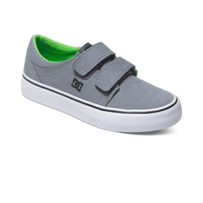 Chaussures Trase Velcro Grey/Black/Green Jr - DC