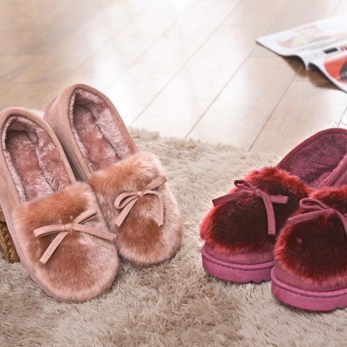 Mode féminine d'hiver Accueil coton Chaussons pois en coton épais chaussons garder au chaud en bas coton intérieur et extérieur nsluq