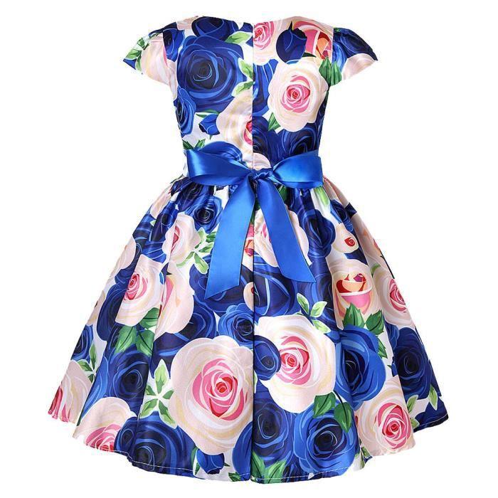 d3a70d28a5f Princesse Fête Bleu Floral Robe De Mariée Bébé Demoiselle Pageant  D anniversaire D honneur 5wqZv0w