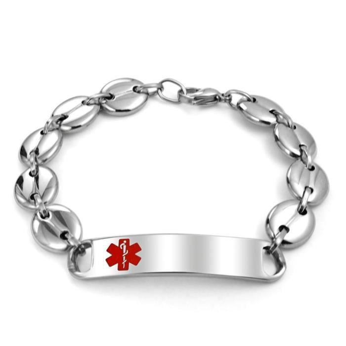 Womens Mariner Chain Medical Alert Red Enamel Id Tag Bracelet Steel AYF3U