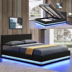 lit led avec coffre de rangement ava 140x190 noir. Black Bedroom Furniture Sets. Home Design Ideas