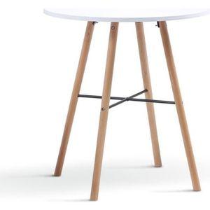 TABLE À MANGER SEULE Table à manger ronde scandinave Sara blanche