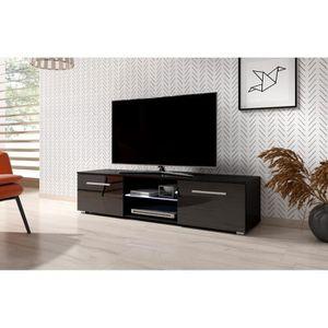 MEUBLE TV Moon Meuble TV Design noir mat avec noir brillant.