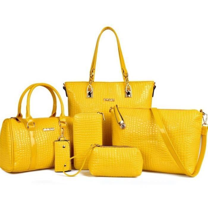 sac à main Luxe 6 Set + + fourre-tout ++ Sac clé Design Sac en cuir verni pour les femmes-969