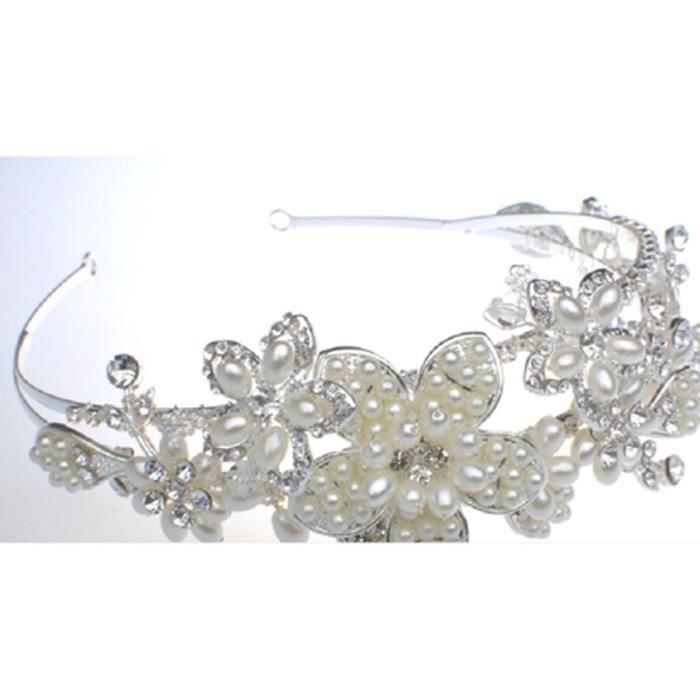 Tiare mariage argenté décoration de forme fleur et feuille avec perles