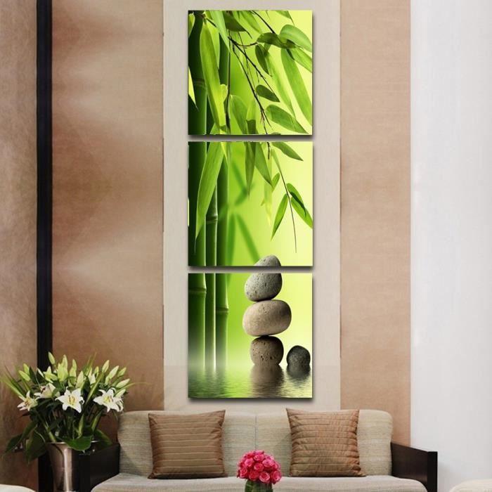 3 Toile Artiste peinture Nature Morte Bambou et Pierre Formes ...