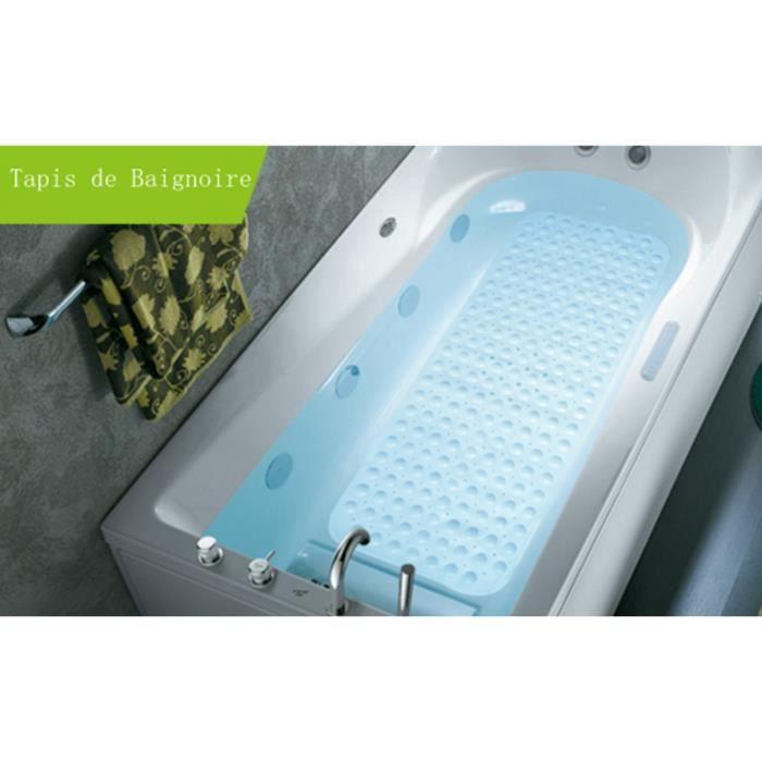 tapis de baignoire de bain de scurit antidrapant extra long anti glisse pour salle de bain massage dition 100x40cm bleu - Tapis Baignoire