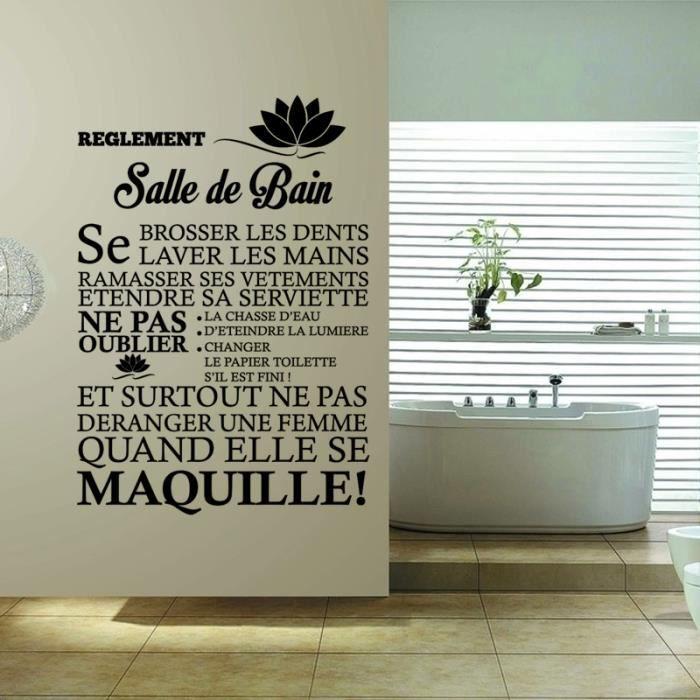 Noire cr ative sticker mural pour salle de bain d coration la maison restau - Stickers pour maison ...