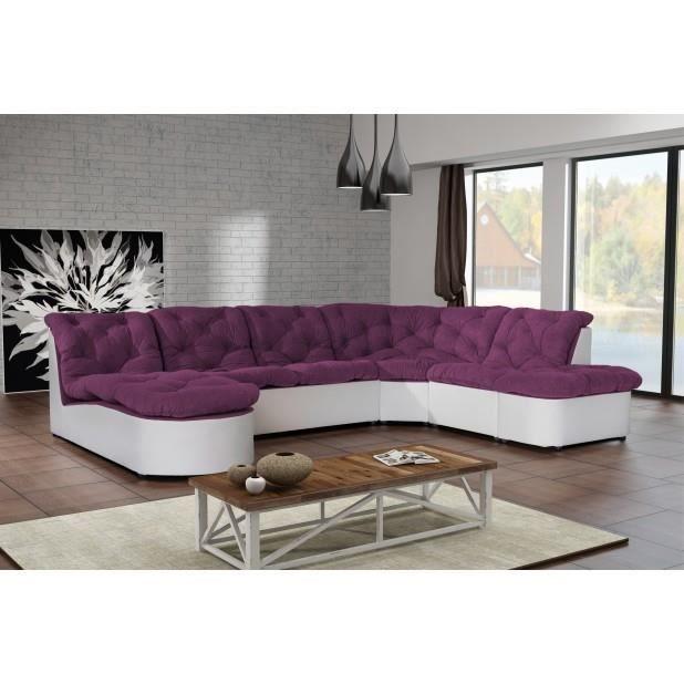 Canap clac d 39 angle panoramique prune pu blanc sofa divan for Vente de divan