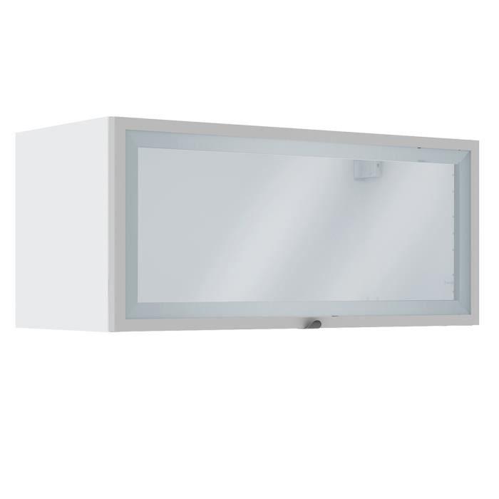 Placard mural de cuisine 80 cm avec une porte vitrée en panneaux de ...