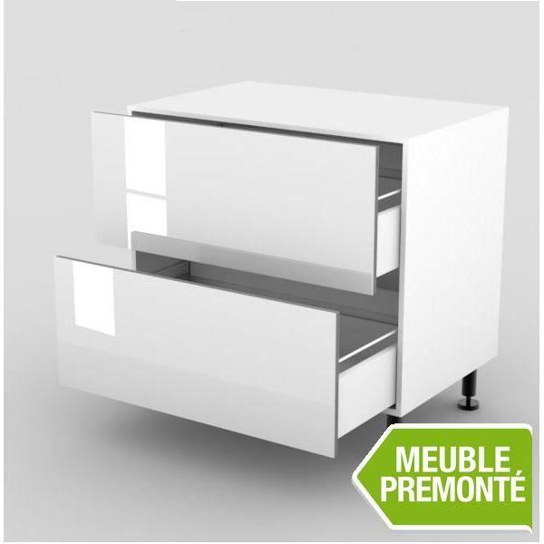 elements bas meuble bas 70cm 2 casseroliers 70x70 cristal blanc