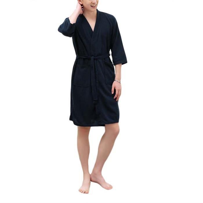 Nuit Léger Spa Peignoir Bleu Coton Vêtement Chemise Printemps Eté Pyjama Nuisettes Robe Femme Homme De En Foncé Bain Xl rhQtdxsC