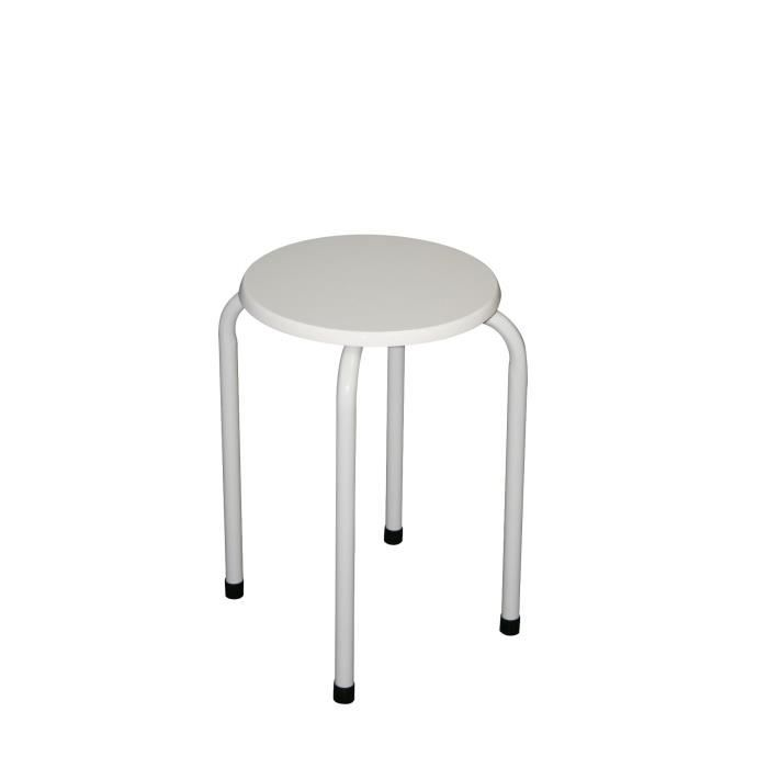10 tabourets empilable blanc