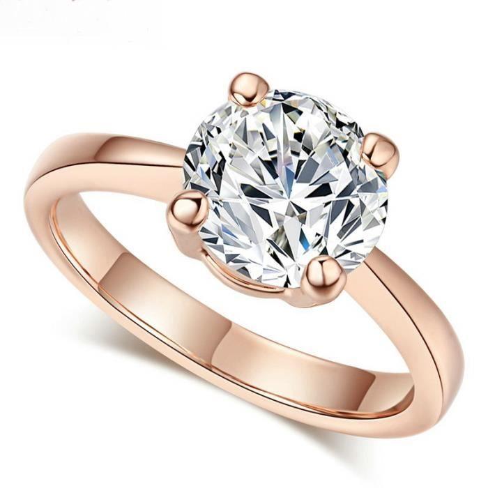1ct solitaire bague de mariage or rose plaqu bijoux or achat vente bague anneau femme. Black Bedroom Furniture Sets. Home Design Ideas