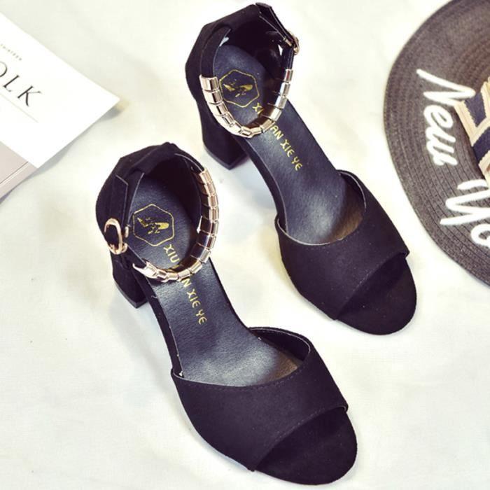 SHELOVEIT® Des sandales Femmes Solide One-buckle Ceinture Suède Bloc Haute très