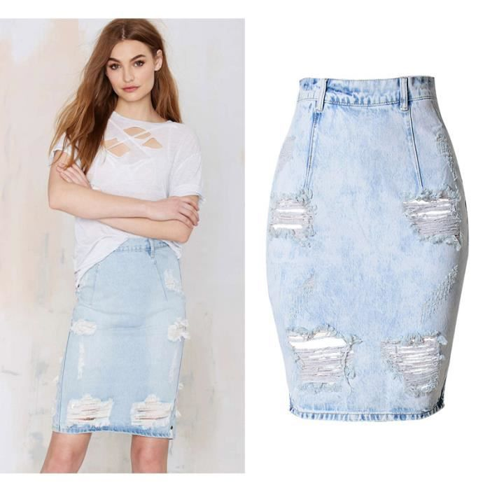 Jupe Hip Haute Pack Sexy Femme Taille Slim Jean Nightclub Fit Ripped kZiuTOXP