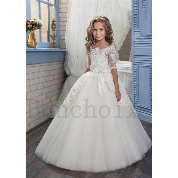abe10ded6a335 Robe Princesse de Cérémonie Mariage Fille de Fleur Enfant Longue Dentelle  Tulle Manches Courtes