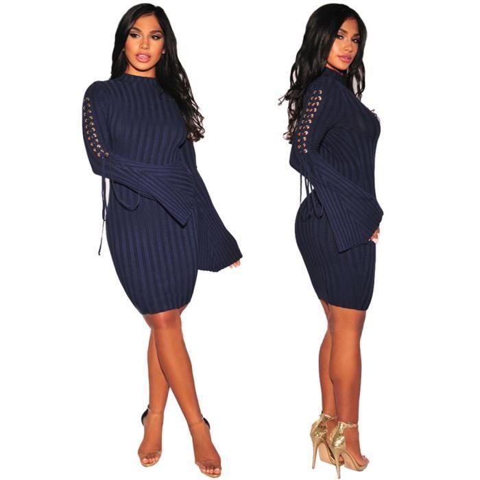 conception adroite meilleur site web 100% d'origine Femmes Robes Serré Manches longues Slim Cou rond vetement Confortable  Automne et hiver Grande Taille S-XXXL