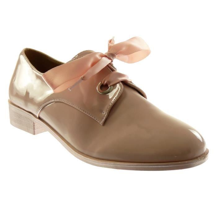 efaa6e45e875fe Angkorly - Chaussure Mode Derbies femme Lacet ruban satin verni Talon bloc  2.5 CM - Rose - 18-13 T 35