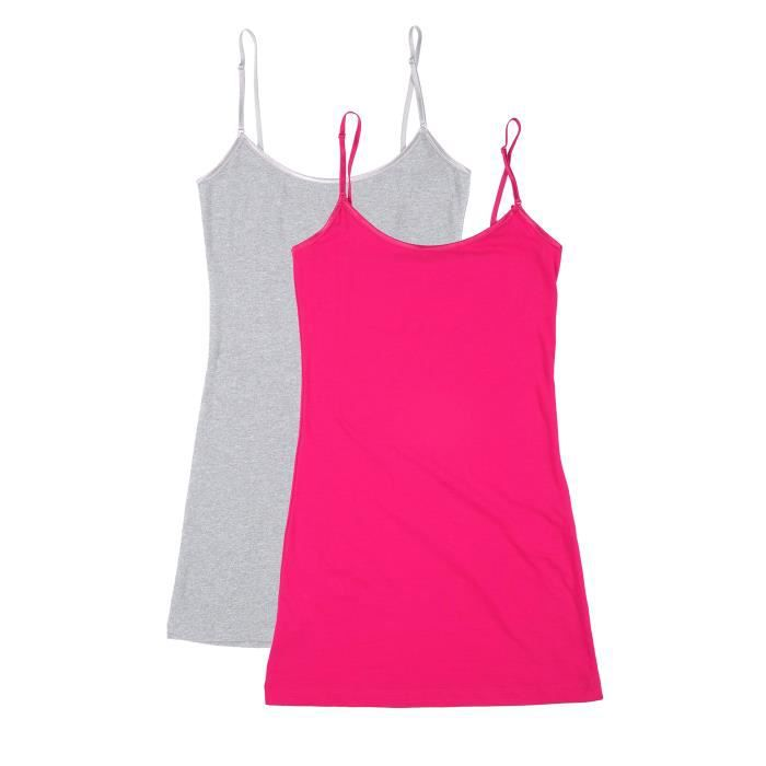 Women's Yspx9 Taille Junior Long Plus And Top Tank Adjustable Spaghetti 2 Pack 42 Strap 4 rTAqwrS7