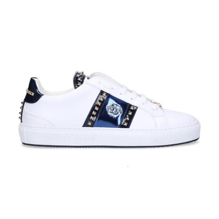 27d169f9aa2 PHILIPP PLEIN FEMME WSC0963114 BLANC CUIR BASKETS Blanc Blanc ...