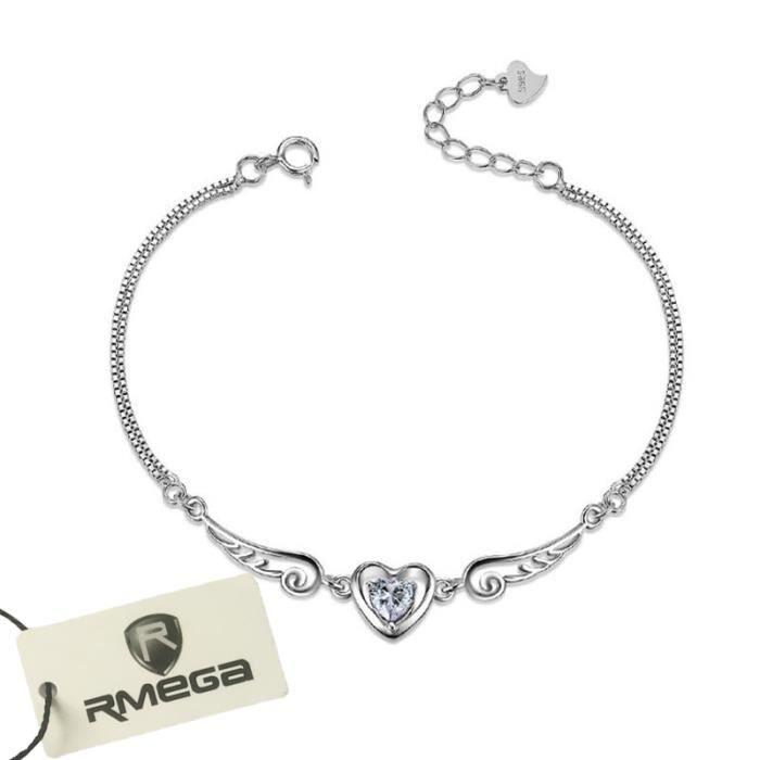 RMEGA® Bracelet jonc femme 925 en Sterling Argent Simple et élégant Bijoux Blanc