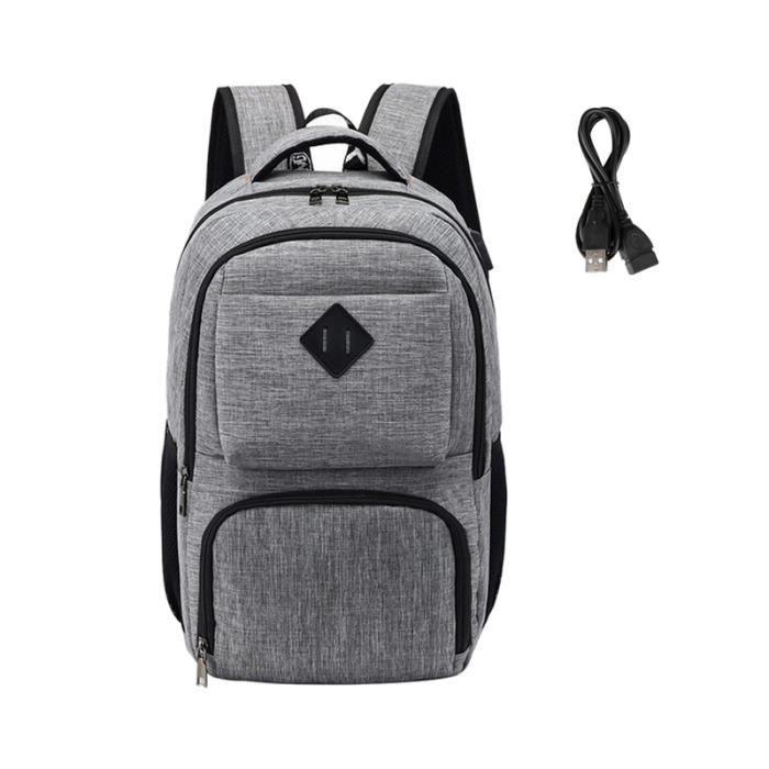 Hommes Femmes Sac à dos, la fonction de charge USB, gris clair