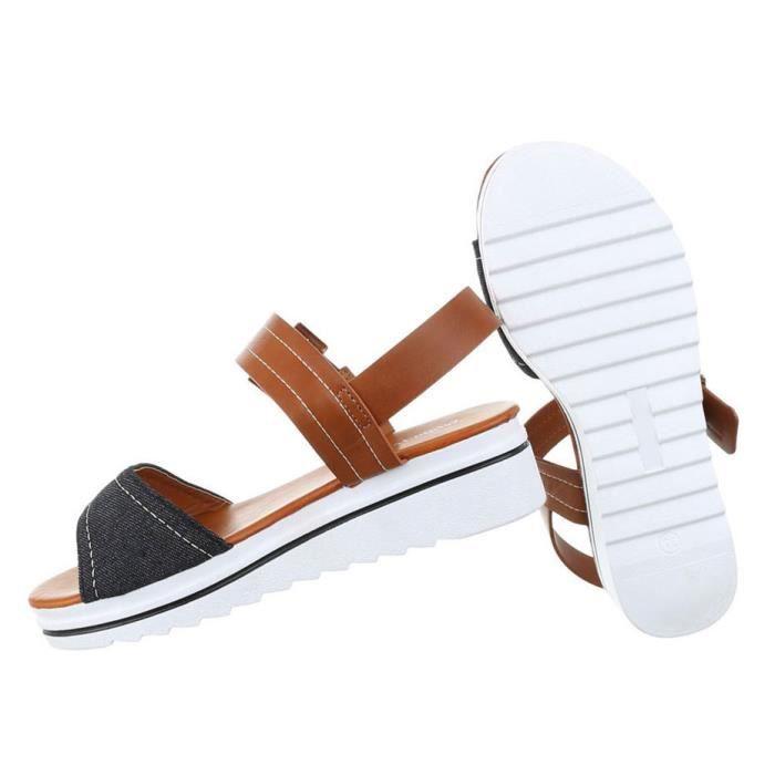 Femme sandales chaussures chaussures de plage chaussures d'été Strappy jaune 41 B6CacN