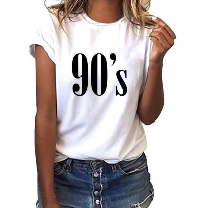 Mode Blanc Décontracté O Vrac Lettre Féminine shirt Courtes À neck Manches En Top T wzxzqXTOn