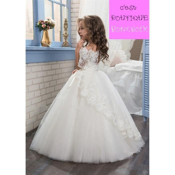 Robe Princesse de Cérémonie Mariage Fille de Fleur Enfant Longue Dentelle Tulle Manches Courtes
