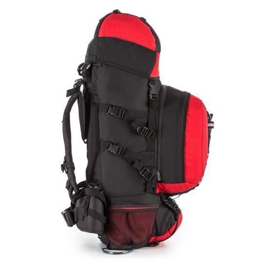 Almer Sac à dos randonnée trekking 80L 40x80x35cm rouge & noir Ji2V09q