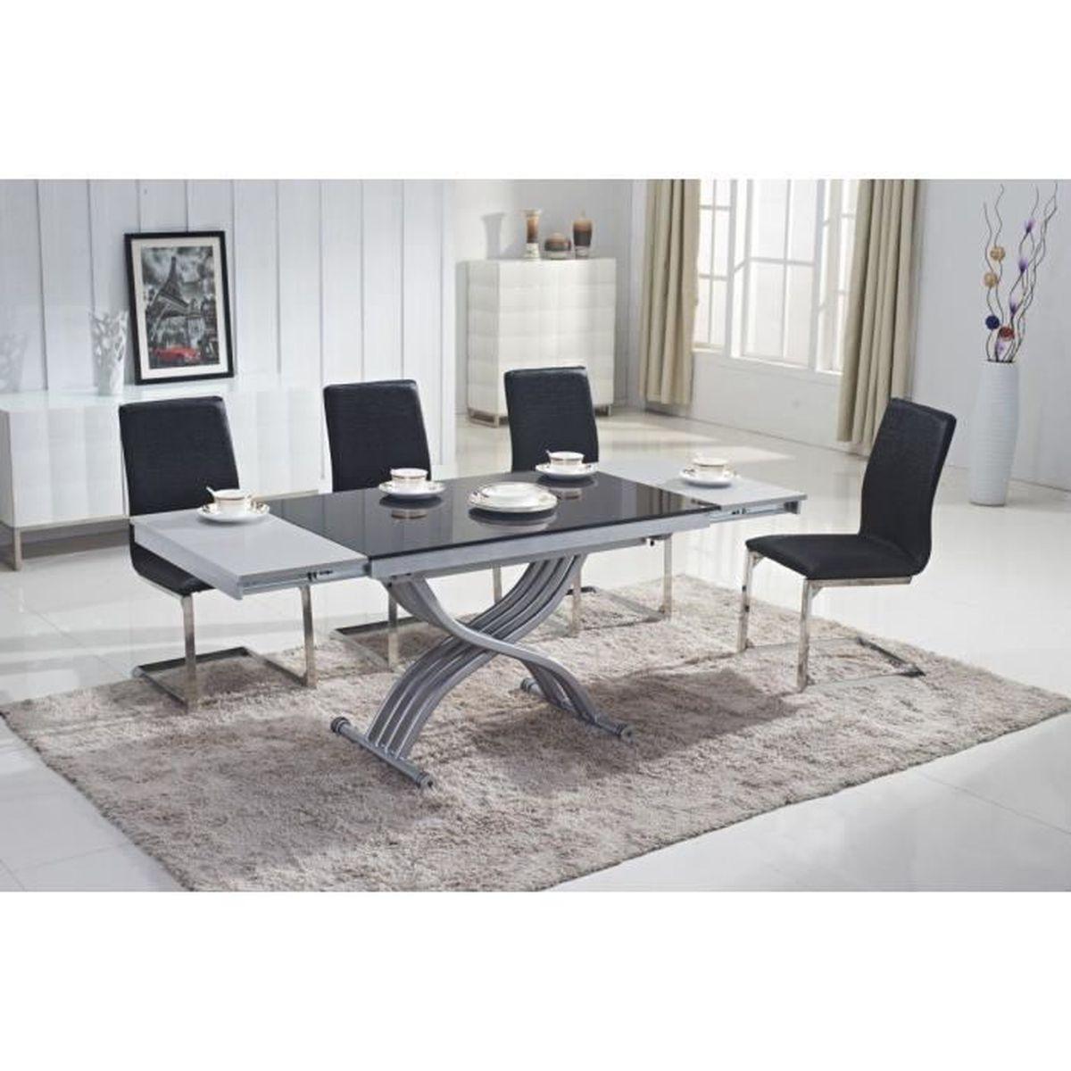 Table En Verre Noir Avec Rallonge Extensible