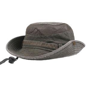 CHAPEAU - BOB Hommes Coton broderie Visor Mesh Bucket Chapeaux c db0d49d8637