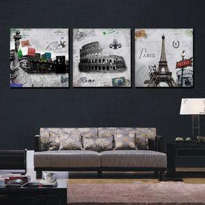 TABLEAU - TOILE 3 Piece moderne peinture murale Paris toile romain