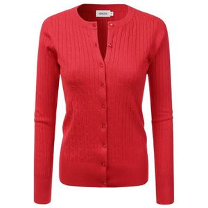 Womens Button Down Long Sleeve Crew Neck Knit Cardigan Sweater