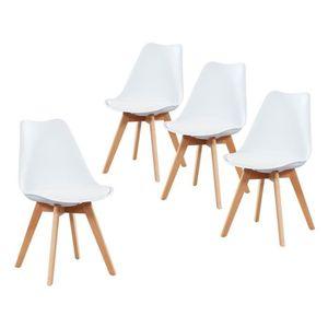 CHAISE Lot de 4 chaises coloris blanches en polypropylène