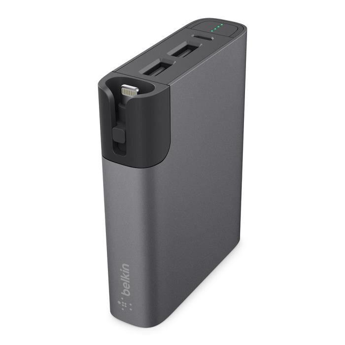 BELKIN Batterie externe 6600 mAh, 3,4A avec câble micro-USB 8 cm- Gris