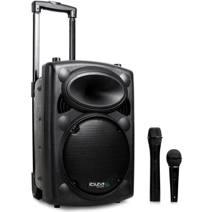 Ibiza Port 8 VHF - Enceinte sono portable avec micro sans fil et micro fil lecteur MP3 (USB SD, chassis ABS, batterie longue durée)