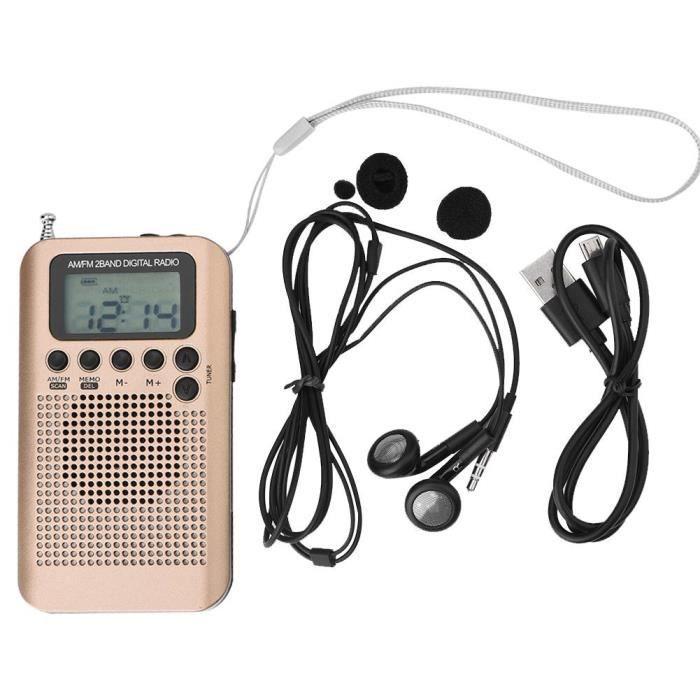 Radio De Poche Décodage Am - Fm Numérique 2 Bandes 8uv Stéréo Avec Syntonisation (or)