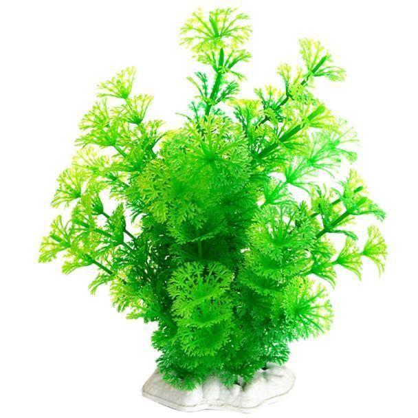 Plastique Emulational Décoratif Longue Feuille Plantons Pour Aquarium Gn@basilesmile088