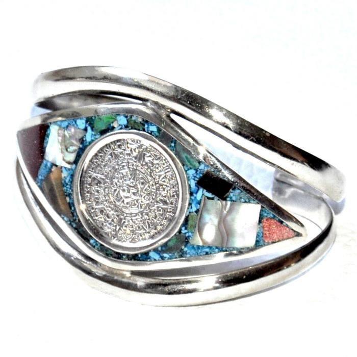 Bracelet manchette jonc en argent dAlpaca calendrier aztèque nacre bijou