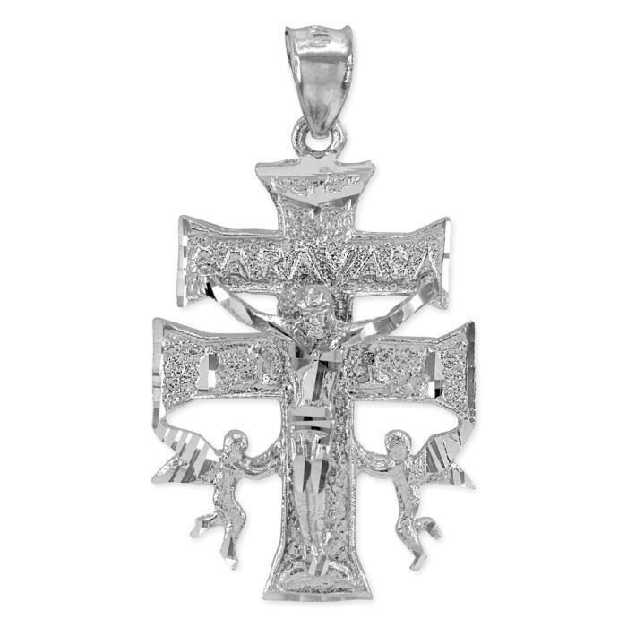 Collier Femme Pendentif 14 Ct Or Blanc Caravaca Double Croix avec Anges Crucifix (Livré avec une 45cm Chaîne)